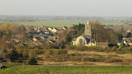 A view of St Peter's church in West Lynn taken from the north tower of King's Lynn Minster (St Marga