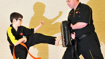 Jack Bayes, 13, is fast becoming a Karate expert despite his disability.Jack working with his instru