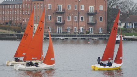 Bryan Riley (73), Owen Delany (50) and David Gooch (97) lead the way in the second Squib race at Oul