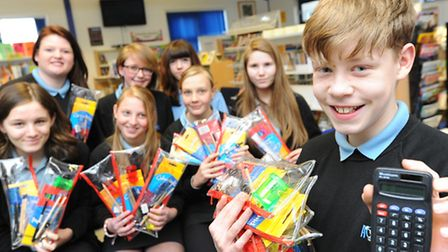 Acle Academy pupils who are preparing for a charity trip to Kenya. The school is taking supplies of