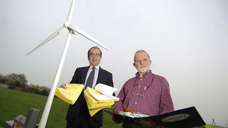 Pictured L-R Michael Windridge, district cllr and Geoff Moulton, chairman of Showt with a scale mode