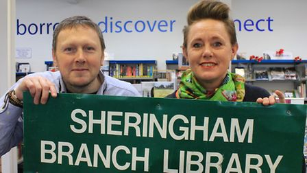 Sheringham library assistants John Spooner and Alex Snell, who are appealing to people to come forwa