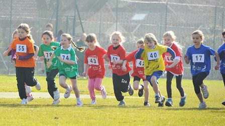 Youngsters from Norfolk schools compete in the Norfolk Winter School Games cross country event at Gr