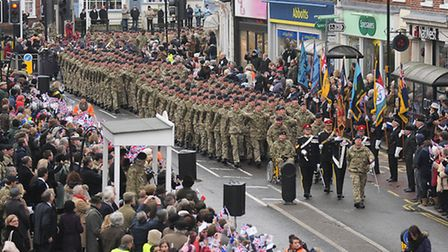 Crowds packed Dereham Market Place to welcome home The Light Dragoons. Picture: Ian Burt