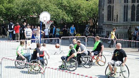 Green Canaries wheelchair basketball club give a display outside the Forum.