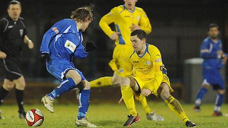 Richard Bunting in action for Lynn on Tuesday before he was replaced by Danny White. Picture: IAN BU