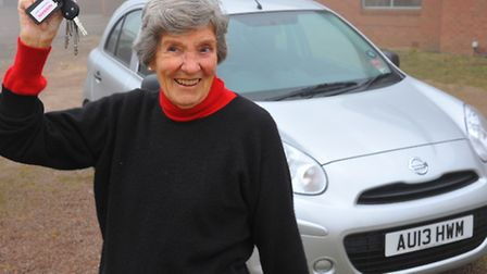 Ninety four year old Jean Marriott who has just bought herself a new car and enjoys driving. Photo: