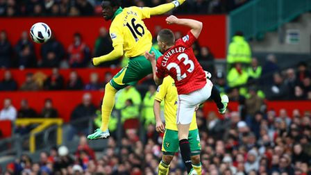 Kei Kamara jumps highest to beat Tom Cleverley to the ball. Picture: Paul Chesterton / Focus Images
