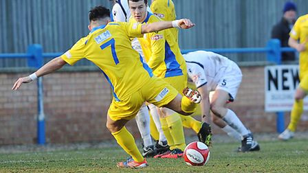 King's Lynn Town's Stephen Spriggs (7) scored the second goal of the afternoon. Picture: Ian Burt