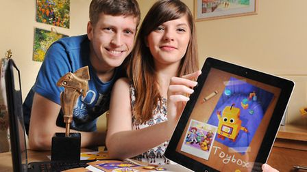 Sophia George (22)and Kristian Francis (24) have designed an iPad game called Tick Tock Toys which i