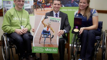 Norwich South MP Simon Wright (centre) with Joel Connor-Saunders and Paralympic champion Hannah Cock