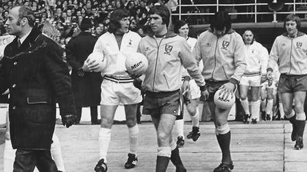 City leave the tunnel at Wembley, led out by manager Ron Saunders and captain Duncan Forbes.