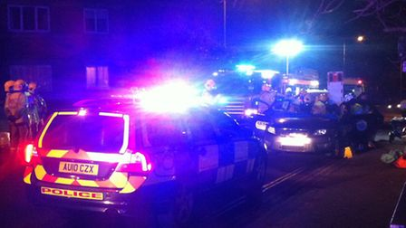 Emergency services at the scene of a crash in Rouen Road, Norwich.