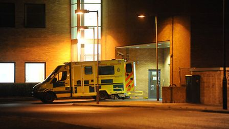 Ambulances parked up outside the accident and emergency department of the Norfolk and Norwich University Hospital. Photo...