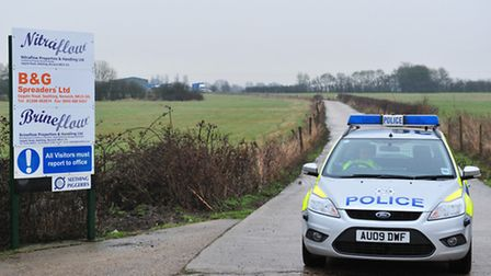 Police sealed off a lane off Upgate Road in Seething on Friday. Picture: Nick Butcher