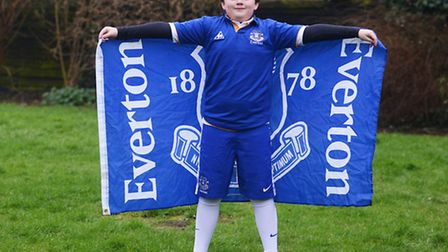 Joe Crane (10) will be the Everton FC club mascot for the game against Norwich on February 23rd. Pic