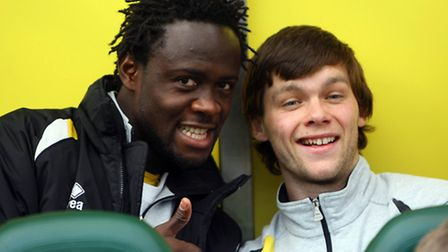 Kei Kamara and Jonny Howson smile for the camera before the game. Picture: Paul Chesterton / Focus Images