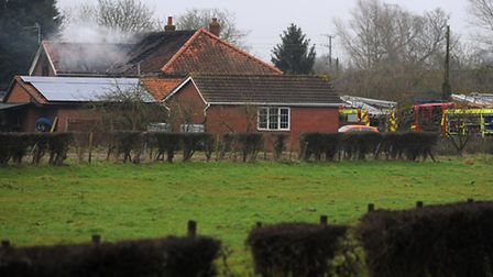 Emegency services at the scene of the fire in Pug Street, Shimpling near Diss. Photograph Simon Park