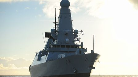 HMS Dauntless off the coast of Great Yarmouth.Viewed from the Caister Lifeboat.Picture: James Bass