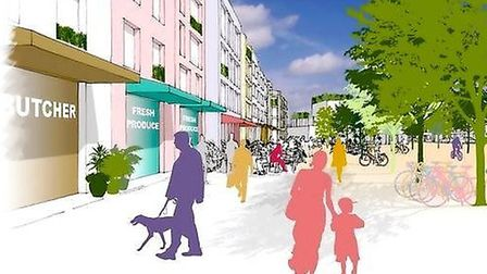 An artist's impression of Beyond Green's proposal for North Sprowston and Old Catton