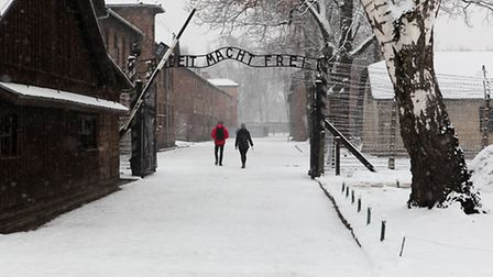Lessons from Auschwitz visit organised by the Holocaust Education Trust. Auschwitz's famous gates: A