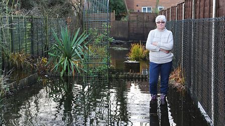 Pamela Green is unhappy about her flooded garden. Picture: Ian Burt