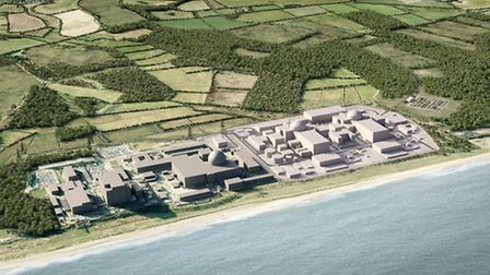 An artist's impression of what Sizewell C could look like, alongside the existing A and B sites