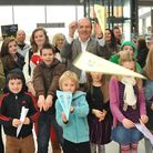 Norfolk University Technical College chief executive Dick Palmer joins in the paper plane competitio