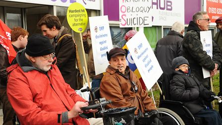 Campaigners protesting against Atos in Norwich, who assess if people can work. Picture: Denise Bradl