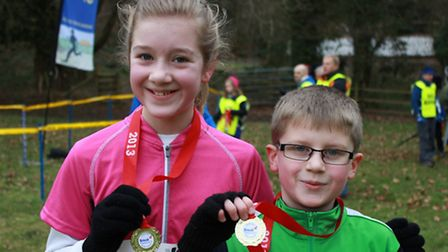 Eleven-year-old Izzy Wood and brother Laurie, 9, from Poringland, who came fifth and fourth in the U
