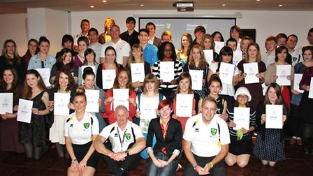 National Citizenship Service graduation ceremony. Pictured: John Ruddy with some of the 16 and 17 ye