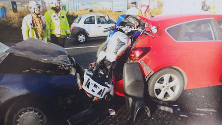 Kyle Funnell was knocked off his motorcycle at Harfreys roundabout. The motorcycle was written off . He must pay the...