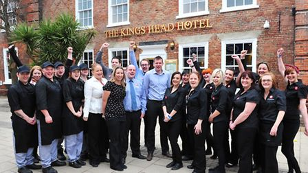 Staff and management outside the Kings Head Beccles. The pub is set to open on Tuesday 26th February