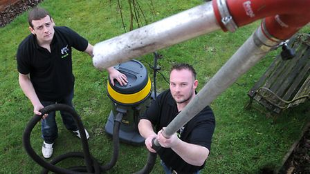 Business partners, left, Danny Sayer and Sam Cordner from EACM, specialists in gutter vacuuming and