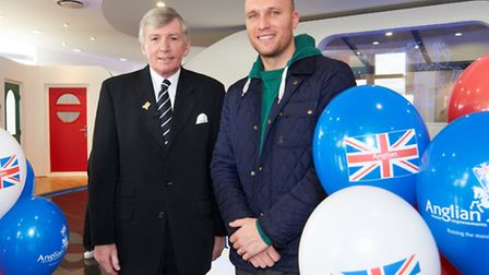 Former World Cup star Martin Peters and ex-Canaries striker Dean Ashton at the opening of the new An