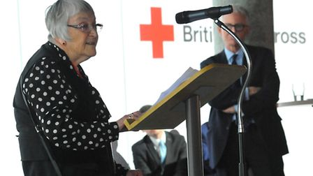 Lady Joyce Hopwood speaks at the British Red Cross event, where speakers talked about the provision