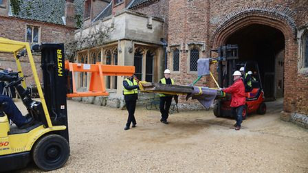 The first of the two 15th century doors at Oxburgh Hall that was taken down for repair. Picture: Ian