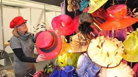 Margaret Sims from Hat Franchise displays her hats at the EDP Wedding Show.PHOTO BY SIMON FINLAY