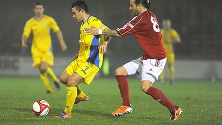 James Jepson, right, in action against King's Lynn Town - who he joined on Thursday - earlier this t