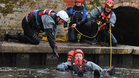 Norfolk Lowland Search and Rescue team hold a training session at Horstead Mill.Photo by Simon Finla