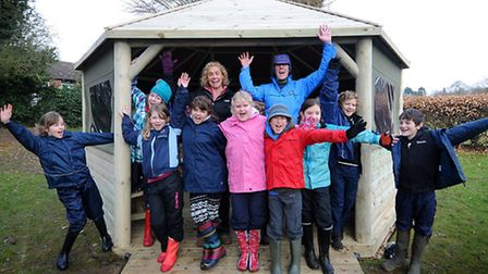 New outdoor classroom at St Mary's Primary School, Roughton. Back, left to right, headteacher Polly