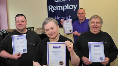 Remploy workers(l to r) Rex Divey, Michael Crowe, Gordon Paton and Robert Bootyman who between them