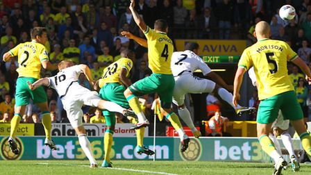 Russell Martin scores Norwich City's second goal in the 3-1 win over Swansea City the last time the