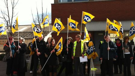 Strikers outside the DWP call centre in Mountergate, Norwich. Picture: David Bale