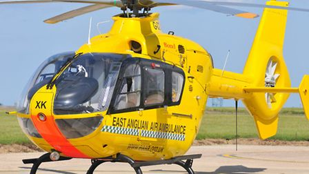The East Anglian Air Ambulance helicopter.