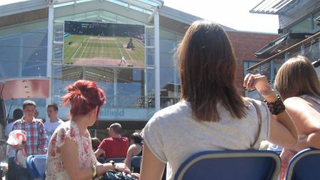 The tennis at Wimbledon was among the broadcasts on the big screen in Chapelfield Plain.