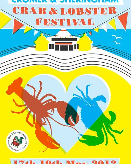 The winning poster for the Cromer and Sheringham Crab and Lobster Festival 2013.