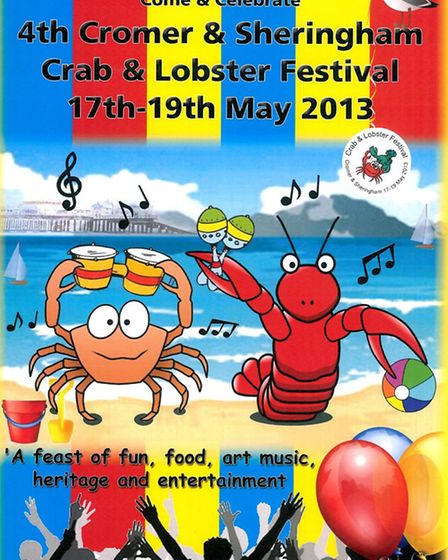The second placed poster for the Cromer and Sheringham Crab and Lobster Festival 2013.