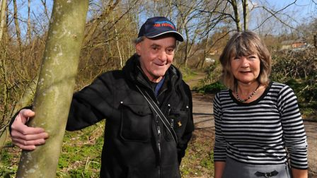 Ernie Woodrow and Ceinwen Fidler of Norwich Community Green Gym amongst the trees on the site of fth