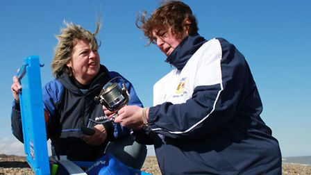 Sisters Wendy Metcalfe and Kay Brown, who have been selected for the England women's sea fishing tea